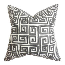The Pillow Collection - Klemens Geometric Pillow Gray - This chic decor pillow flatters most of your styling needs with its unique print and neutral shade. Made with 100% cotton fabric, this throw pillow is designed to last for years. Perfect for lending support as a cushion to any of your furniture such as your bed, seat, loveseat and more. The Greek key pattern comes in a gray shade on a white background. Hidden zipper closure for easy cover removal.  Knife edge finish on all four sides.  Reversible pillow with the same fabric on the back side.  Spot cleaning suggested.