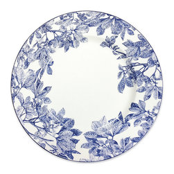 Frontgate - Blue Arbor Charger Plate - From fine artisanal tableware purveyor Caskāta. Crafted of 100% porcelain. Handmade and hand-painted Cobalt Blue, each item is unique. Clay is sculpted, polished, fired, painted and glazed. Dishwasher safe. A gathering of feathery leaves graces the body of this chinoiserie-inspired tableware collection by Caskāta. , each piece in the Blue Arbor collection is handmade and hand-painted. , serve your guests in style with tableware carefully crafted with time-honored tradition that is built to last.  .  .  .  .  . Made in USA.