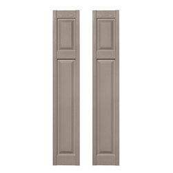 Builders Edge - Cottage Style Raised Panel Shutters in Clay - Choose Size: 12 in. W x 1 in. D x 67 in. H (9.4 lbs.)Color matching Shutter-LOK fasteners included. Constructed with color molded-through vinyl so they will not scratch, flake, or fade. Durable, maintenance-free U.V. stabilized, deep wood grain texture. Made in the USA