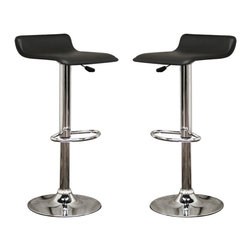 Baxton Studio - Baxton Studio Vita Black Faux Leather Modern Bar Stool (Set of 2) - The Vita Stool keeps a low profile, perfect for a minimalist home, restaurant, or bar. Despite its simple design, this stool packs a punch when it comes to style. Its seat is lightly padded, then upholstered in durable, easy-to-clean black faux leather. The base and frame is made of steel with a shiny, reflective chrome finish, and the base includes a plastic ring for protecting sensitive floors. You will love the convenient 360 degree swivel and height adjustment features. Assembly is required.