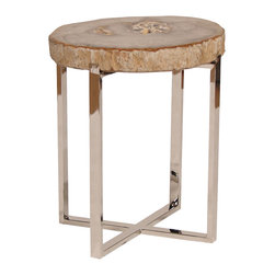"""Palecek - Sliced Petrified Wood Accent Table Small - A solid stone fossil delivers an eye-catching organic complement to this stunning contemporary accent table. Paired with a criss-crossed base, the small hand-cut petrified wood top comes alive with captivating natural detail. 15.5""""W x 16""""D x 22""""H; Legally harvested and polished petrified wood; Stainless steel base; Top is loose on base; Each stone fossil is unique and will vary in size, pattern and color; Some cracking is natural"""