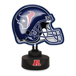 Memory Company, L.l.c, The - Houston Texans Neon Helmet Lamp - Light up your desk, bar or den with your favorite football team's helmet in bold, bright neon. The replica helmet is also vacuum formed for a 3-D effect.