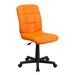 "Flash Furniture - Mid-Back Orange Quilted Vinyl Task Chair - This contemporary designed computer chair will highlight a dull or attractive work space. Get away from the ordinary office chair with the attractive quilted, tufted upholstery. Mid-Back Swivel Computer Chair; Orange Vinyl Upholstery; Quilted Design Covering; Pneumatic Seat Height Adjustment; Heavy Duty Nylon Base; Dual Wheel Casters; CA117 Fire Retardant Foam; Overall dimensions: 23""W x 24""D x 34"" - 38.75""H"