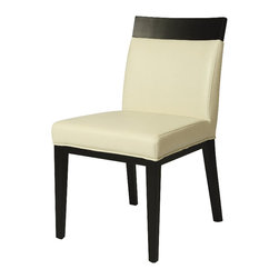 Pastel Furniture - Pastel Elloise Side Chair - Ballarat Black - Bonded White Leather - The Elloise Side chair is an elegant yet simple design with clean lines and classic appeal. The chair's simple design adds an element of modern sophistication to any dining area. The chair is of ballarat black wood finish upholstered in bonded white leather.
