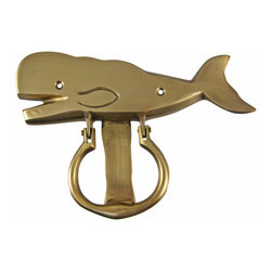 Zeckos - Solid Brass Sperm Whale Door Knocker - This beautiful solid brass sperm whale door knocker is a perfect decor item for whale lovers. It has a beautiful matte finish that will last for years in most weather conditions. The knocker measures 5 1/2 inches tall, 8 inches wide, and has 2 screw holes for mounting to your door (comes with wood screws). It has wonderful detail and the finish looks great on any color door.