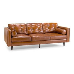 Darrin 89-Inch Leather Sofa - This caramel leather sofa from JC Penney is just gorgeous.