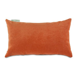 Majestic Home Goods - Villa Orange Small Pillow - Add a splash of color and a little texture to any room with these plush pillows by Majestic Home Goods. The Majestic Home Goods Villa Pillow will instantly lend a comfortable look to your living room, family room or bedroom. Whether you are using them as decor throw pillows or simply for support, Majestic Home Goods Small Pillows are the perfect addition to your home. These throw pillows are woven from 100% polyester Micro-velvet and filled with Super Loft recycled Polyester Fiber Fill for a comfortable but durable look. Spot clean only.