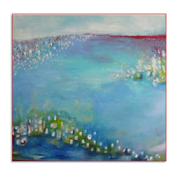 Original Abstract Canvas Modern Acrylic Painting - 36x36 - - Dimensions :36''x36'' profile of 1.5''