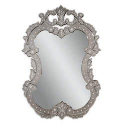 Bassett Mirror - Bassett Mirror Venetian II Wall Mirror - This ornate Venetian-inspired wall mirror features beveled edges, floral touches and silvery tinted glass on a solid hardwood base.