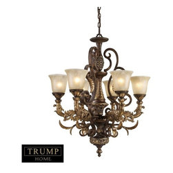 Elk Lighting - Elk Lighting 2163/6 6 Light Chandelier in Burnt Bronze - 6 Light Chandelier in Burnt Bronze belongs to Regency Collection by Elk Lighting Inspired By The Scrolling Design Of The Trump Family Crest, Regency Creates A Rich And Regal Ambiance. The Solid Cast Iron Scrolls And Burnt Bronze Finish Compliments The Delicate Weathered Gold Leaf Accents And Caramel Amber Glass To Create A Dramatic And Stunning Collection. Chandelier (1)