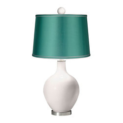 "Color Plus - Contemporary Smart White - Satin Sea Green Ovo Table Lamp with Color Finial - Bright and bold this designer color Smart White glass table lamp is a fantastic way to add a splash of color to your home decor. The design is hand-crafted by experienced artisans in our California workshops and features a matching color ball finial at the top. The look is finished off with a specially-selected sea green satin drum shade and brushed steel finish accents. Smart White designer glass table lamp. Matching color ball finial. Sea green satin drum shade. Brushed steel finish accents. From the Color + Plus™ lighting collection. Maximum 150 watt or equivalent bulb (not included). 30 1/2"" high. Shade is 14"" across the top 16"" across the bottom 11"" high. Finial is 2 1/2"" wide 3"" high. Base is 6"" wide.  Smart White designer glass table lamp.  Matching color ball finial.  Sea green satin drum shade.  Brushed steel finish accents.  From the Color + Plus™ lighting collection.  Maximum 150 watt or equivalent bulb (not included).  30 1/2"" high.  Shade is 14"" across the top 16"" across the bottom 11"" high.  Finial is 2 1/2"" wide 3"" high.  Base is 6"" wide."