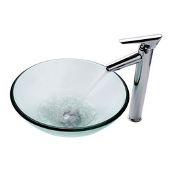 Kraus - Kraus C-GV-101-12mm-1800CH Clear Glass Vessel Sink and Decus Faucet - Add a touch of elegance to your bathroom with a glass sink combo from Kraus