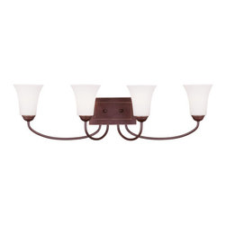 Livex Lighting - Livex Lighting 6484 Ridgedale Bathroom Vanity Bar - Livex Lighting 6484 Ridgedale Four Light Bathroom FixtureGraceful like a flower, the Ridgedale four light wall sconce features swan neck stems ending in a hand blown glass flared shades. This light will enhance the look of any hallway or room in your home.Livex Lighting 6484 Features: