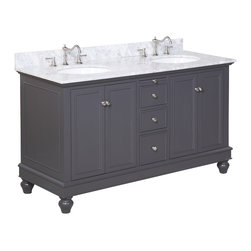 Kitchen Bath Collection - Bella 60-in Double Sink Bath Vanity (Carrara/Charcoal Gray) - This bathroom vanity set by Kitchen Bath Collection includes a charcoal gray cabinet, soft close drawers, self-closing door hinges, Italian Carrara marble, double undermount ceramic sinks, pop-up drains, and P-traps. Order now and we will include the pictured three-hole faucets and a matching backsplash as a free gift! All vanities come fully assembled by the manufacturer, with countertop & sink pre-installed.