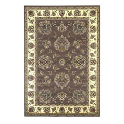 Cambridge 7341 Plum/Ivory Floral Mahal Rug - Our Cambridge Series is machine-woven in China of heat-set polypropelene. This line features a current color palette in classic and transitional patterns providing a well-designed and durable rug at a very affordable price point. No fringe.