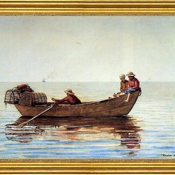 """Winslow Homer-16""""x24"""" Framed Canvas - 16"""" x 24"""" Winslow Homer Three Boys in a Dory with Lobster Pots framed premium canvas print reproduced to meet museum quality standards. Our museum quality canvas prints are produced using high-precision print technology for a more accurate reproduction printed on high quality canvas with fade-resistant, archival inks. Our progressive business model allows us to offer works of art to you at the best wholesale pricing, significantly less than art gallery prices, affordable to all. This artwork is hand stretched onto wooden stretcher bars, then mounted into our 3"""" wide gold finish frame with black panel by one of our expert framers. Our framed canvas print comes with hardware, ready to hang on your wall.  We present a comprehensive collection of exceptional canvas art reproductions by Winslow Homer."""