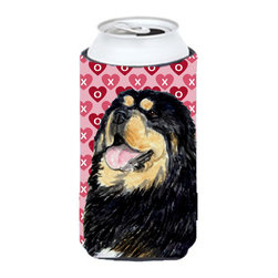 Caroline's Treasures - Tibetan Mastiff Hearts Love Valentine's Day Tall Boy Koozie Hugger - Tibetan Mastiff Hearts Love Valentine's Day Tall Boy Koozie Hugger Fits 22 oz. to 24 oz. cans or pint bottles. Great collapsible koozie for Energy Drinks or large Iced Tea beverages. Great to keep track of your beverage and add a bit of flair to a gathering. Match with one of the insulated coolers or coasters for a nice gift pack. Wash the hugger in your dishwasher or clothes washer. Design will not come off.
