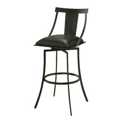 """Pastel Furniture - Pastel Amrita Barstool - Graphite Black - Ford Black - 26 Inch - The Amrita Barstool has a simple yet elegant design that is perfect for any decor. An ideal way to add a classic flair to any dining or entertaining area in your home. This swivel barstool features a quality steel frame with sturdy legs and foot rest Finished in Graphite Black. The padded seat is Upholstered in ford black offering comfort and style. Available in 26"""" counter or 30"""" bar height."""