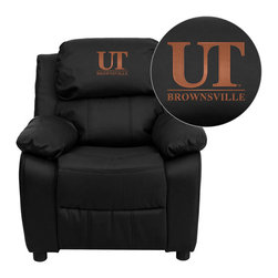 "Flash Furniture - Texas at Brownsville Scorpions Black Leather Kids Recliner with Storage Arms - Get young kids in the college spirit with this embroidered college recliner. Kids will now be able to enjoy the comfort that adults experience with a comfortable recliner that was made just for them! This chair features a strong wood frame with soft foam and then enveloped in durable leather upholstery for your active child. This petite sized recliner features storage arms so kids can store items away and retrieve at their convenience. University of Texas at Brownsville and Texas Southmost College Embroidered Kids Recliner; Embroidered Applique on Headrest; Overstuffed Padding for Comfort; Easy to Clean Upholstery with Damp Cloth; Flip-Up Storage Arms; Storage Arm Size: 3.25""W x 6""D x 11""H; Solid Hardwood Frame; Raised Black Plastic Feet; Intended use for Children Ages 3-9; 90 lb. Weight Limit; Black LeatherSoft Upholstery; LeatherSoft is leather and polyurethane for added Softness and Durability; CA117 Fire Retardant Foam; Safety Feature: Will not recline unless child is in seated position and pulls ottoman 1"" out and then reclines; Overall dimensions: 25""W x 26"" - 39""D x 28""H"