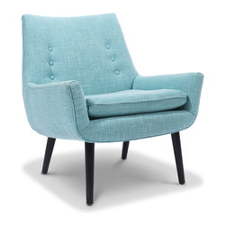 Mrs. Godfrey Side Chair, Cashin Ocean - The Mrs. Godfrey chair by Jonathan Adler is great for small spaces. It's comfortable, yet very light, and its midcentury shape will bring interest to any kind of room.