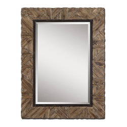 """Uttermost - Tehama Light Walnut with Burnished Details Mirror - Frame is made of light, walnut stained wood with burnished details and an aged, black metal inner lip. Mirror features a generous 1 1/4"""" beveled mirror. May be hung either horizontal or vertical. Matching console table is item #24266."""