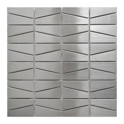 Eden Mosaic Tile - Modern Trapezoid Stainless Steel Tile, Silver Brushed Matte Finish Pack (11 Shee - This unique trapezoid pattern mosaic stainless steel tile is ideal for use on kitchen back splashes, accent walls, fireplaces, bathroom borders and more. The modern, almost space ship like design is best used in contemporary d�cor and installations that require a modern, edgy but minimalist tile pattern design. The tiles in this sheet are mounted on a nylon mesh which allows for an easy installation.