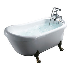Ariel - Ariel BT-062 Whirlpool Bathtub - You want the comforts of modern convenience and an old fashioned look for your bath. Well, this piece is like a hot tub time machine. It offers a vintage clawfoot look, a handheld shower attachment, and a body contouring shape with six multipurpose jets and a 1.2 horsepower motor.