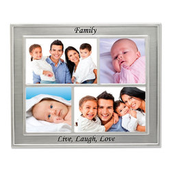 """Lawrence Frames - Silver Sentiments - Family Collage 4 Opening Collage - Beautiful silver metal """"Family"""" collage frame. Silver plated and lacquer coated for tarnish resistance. This frame is extremely rich with a high quality satin silver finish. There are four openings for two 4"""" x 4"""" and two 4"""" x 6"""" photos. Frame has a high quality black velvet back with an easel for tabletop display and a hanger for wall mounting. Individually boxed."""