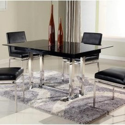 Chintaly Tyler 5 Piece Expandable Dining Table Set - A modern minimalist, the Chintaly Tyler 5 Piece Extendable Dining Table Set graces your dining room with high style. This set includes an angular table with white glass top and rectangular stainless steel post polished to a high shine. It features a built-in design that expands it 10 inches. Ideal for entertaining! Four armless dining chairs round out this set. They're made with slim yet sturdy legs of stainless steel and the seats and backs are upholstered in black faux leather.About Chintaly ImportsBased in Farmingdale, New York, Chintaly Imports has been supplying the furniture industry with quality products since 1997. From its humble beginning with a small assortment of casual dining tables and chairs, Chintaly Imports has grown to become a full-range supplier of curios, computer desks, accent pieces, occasional table, barstools, pub sets, upholstery groups and bedroom sets. This assortment of products includes many high-styled contemporary and traditionally-styled items. Chintaly Imports takes pride in the fact that many of its products offer the innovative look, style, and quality which are offered with other suppliers at much higher prices. Currently, Chintaly Imports products appeal to a broad customer base which encompasses many single store operations along with numerous top 100 dealers. Chintaly Imports showrooms are located in High Point, North Carolina and Las Vegas, Nevada.