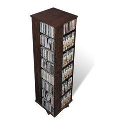 Prepac - Large 4-sided Multimedia Revolving Tower - For serious or commercial collectors with limited space, this large espresso media storage spinner holds more than 1,000 CDs in just under two square feet of floor space. A versatile unit, it spins effortlessly to allow access to your collection from all four sides. Thirty-six fully adjustable shelves can be set to any position to suit your collection. Horizontal storage allows for easy sorting, filing and re-filing of your collection as it grows. Features: -Wood construction.-Distressed: No.-Country of Manufacture: Canada.Specifications: -Media Capacity: 1040 CDs, 476 DVDs, 832 Blu-ray discs, 280 videos.Dimensions: -Overall Product Weight: 109.00.Warranty: -5-Year manufacturer''s limited warranty on parts.