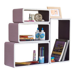 Blancho Bedding - [Purple Strip] Rectangle Leather Wall Shelf / Floating Shelf (Set of 4) - These rounded corner wall cube shelves add a new and refreshing element to your room and can be easily combined with other pieces to create a customized wall space. Coming in various colors and sizes, they spice up your home's decor, add versatility, and create a whole new range of storage spaces. You can hang them on the wall, or have them stand on table or floor, any way you like. Fashion forward design has never been so functional. This range of faux leather storage cubes is sure to delight! Perfect for wall mounting, these modern display floating shelves are sure to delight. Constructed from MDF with a top faux leather wrapping. Easy to mount, easy to love! Attractive shelf boxes give any wall in your home a striking appearance. Arrange in whatever fashion you like - whether it be grouped together or displayed separately. Each box serves as a practical shelf, as well as a great wall decoration.