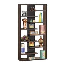 Coaster - Bookshelf (Cappuccino) By Coaster - 800265 Features: -Display cabinet. -Cappuccino finish. -Overall dimensions: 35'' W x 11-3/4'' D x 70-3/4'' H.