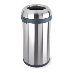 "simplehuman - Bullet Open Trash Can - Here's a trash can for the person who only has time to throw and go. The open top design of the bullet open can makes it ideal for high-traffic areas. Sleek, sturdy design and an extra-large capacity makes this Simplehuman trash can perfect for home or commercial use. Features: -Brushed stainless steel -Available in 16 gallon/ 60 liter only -Open top lid for quick access -Easy lift handles for easy lifting and moving -Removable lid for simple bag removal -No inner bucket needed -Nonskid base prevents trash can from tipping -Holds 30-33 gallon tall trash bags -5 year limited warranty -Dimensions: 29.8"" H x 16"" W x 15.8"" D"