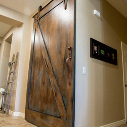 Sliding Barn Door - Tobacco Barn Brown with Ignite Finish - -Angled View / Door Open-