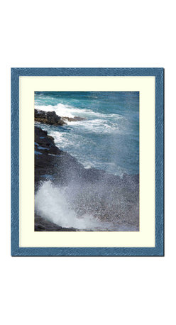 "Frames By Mail - Wall Picture Frame Hammered Blue pearlized finish with a white acid-free matte, - This 16X20 hammered blue pearlized finish picture frame is 1"" wide and has a white matte for an 11X14 picture that can be removed to accommodate a larger picture.  The frame includes regular plexi-glass (.098 thickness) foam core backing and can hang either horizontal or vertical."