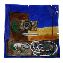 Bronze Age - Blue and Gold Square Fused Platter Display - This gorgeous Blue and Gold Square Fused Platter Display has the finest details and highest quality you will find anywhere! Blue and Gold Square Fused Platter Display is truly remarkable.
