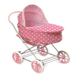 Badger Basket Just Like Mommy Pink Polka Dot 3-in-1 Doll Pram - Your child can now take their favorite doll anywhere with the adorable style and versatility of the Badger Basket Just Like Mommy Pink Polka Dot 3-in-1 Doll Pram. This play set converts easily from a rocking doll pram to a single stroller and then can also be used as a handy doll carrier complete with carry straps and foam mattress. As a doll pram it features a cute canopy rocking action and pink and white Polka Dot fabric. This pram can also be used as a carrier and includes a fabric boot/cover foam pad and carrying handles. Lift the carrier off the pram to reveal a cute reclining stroller. Perfect for dolls up to 24-inches it also includes a rubber grip on the stroller handle and easy rolling 7.5-inch wheels. Some assembly required. Recommended for children 3 years and up. Not for use with real infants or pets. Badger Basket CompanyFor over 65 years Badger Basket Company has been a premier manufacturer of baskets bassinets bassinet bedding changing tables doll furniture hampers toy boxes and more for infants babies and children. Badger Basket Company creates beautiful and comfortable products that are continually updated and refreshed bringing you exciting new styles and fashions that complement the nostalgic and traditional products in the Badger Basket line.