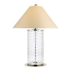 Hudson Valley Lighting - Hudson Valley Shelby D-1 Light Large Table Lamp in Polished Nickel - Hudson Valley Lighting's Shelby's D-1 Light Large Table Lamp shown in Polished Nickel. Lively and effervescent, Shelby's modish array of hand-cut concave circles showcases the glamour of mid-century design. The crystal-clear glass column is capped by a sharply sloped shade, giving an Eastern contrast to the glass body's youthful exuberance.