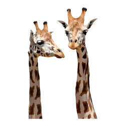Walls Need Love - Giraffe, Adhesive Wall Decal - Imagine the conversation that must be going on between the two of them! Adorn these decals to your wall and you can hang out with them too.