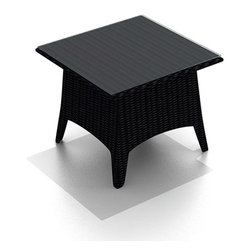 Harmonia Living - Arbor Outdoor Wicker Patio End Table - The Harmonia Living Arbor End Table (HL-AR-CB-ET) is constructed with durable, thick-gauged aluminum frames, which are protected by a powder coating for superior corrosion resistance. The wicker is made of High-Density Polyethylene (HDPE), with its coffee bean color and UV resistance infused into the strands themselves. This creates a rich wicker color that holds up incredibly well with age.  The table includes a sturdy tempered glass top, so your patio furniture will look great and last for years to come.