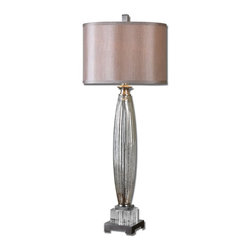 Joshua Marshal - Glass And Brushed Nickel Loredo Table Lamp With Cylinder Shade - Glass And Brushed Nickel Loredo Table Lamp With Cylinder Shade