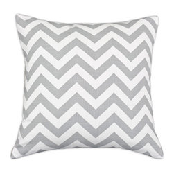 Chevron Pillow Slate Gray - Despite the neutral hues of this pillow, the chevron pattern gives it���and you���a mood lift. Add geometric patterns and a zigzag character to your sofa or bedroom pillow mix with this cuddly item.