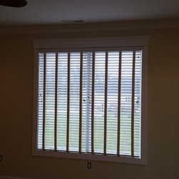Recent Projects - Faux Wood 2 inch blinds with decorative cloth tapes. Nick Nixon (Interior VUES)