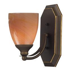 Elk Lighting - Elk Lighting 570-1B-SY 1 Light Vanity in Aged Bronze & Sandy Glass - 1 Light Vanity in Aged Bronze & Sandy Glass belongs to Vanity Collection by Elk Lighting   Sconce (1)