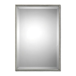 Brushed Nickel Rectangle beveled Glass Mirror - Brushed Nickel Rectangle Beveled Glass Mirror
