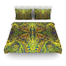 """Kess InHouse - Nikposium """"Yellow Jacket"""" Green Abstract Cotton Duvet Cover (Twin, 68"""" x 88"""") - Rest in comfort among this artistically inclined cotton blend duvet cover. This duvet cover is as light as a feather! You will be sure to be the envy of all of your guests with this aesthetically pleasing duvet. We highly recommend washing this as many times as you like as this material will not fade or lose comfort. Cotton blended, this duvet cover is not only beautiful and artistic but can be used year round with a duvet insert! Add our cotton shams to make your bed complete and looking stylish and artistic! Pillowcases not included."""