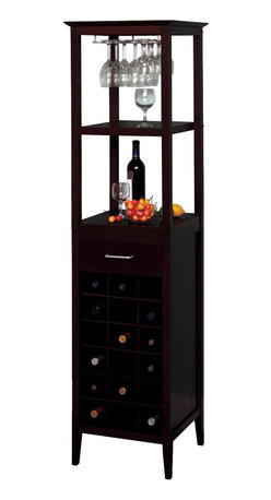 Winsome - Wine Tower - This classic wine tower stores eighteen bottles of wine in individual drawers, and there is one drawer for accessories storage. There is a hanging rack which holds wine glasses, and two shelves for holding open bottles, full glasses, and plates.