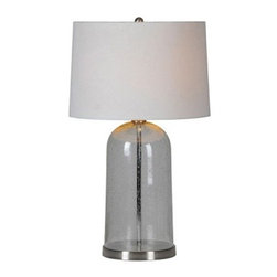 Ren-Wil Linley LPT447 Table Lamp - 27H in. Glass - with its smoky glass body and off-white linen drum shade, the Ren-Wil Linley LPT447 Table Lamp - 27H in. Glass matches any room and any style. A rounded finial and metal border on the base complete the look. This table lamp requires a 100-watt bulb (not included).