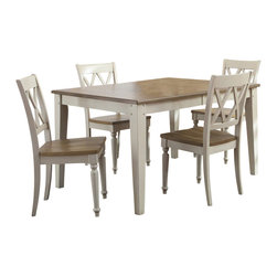Liberty Furniture - Liberty Furniture Al Fresco III 5 Piece 74x40 Rectangular Dining Room Set w/ Dou - Al Fresco or dining in the outdoors brings to mind an open air natural feel. Al Fresco Casual Dining is a fresh approach to a casual rustic style in sand and driftwood finish. The dining tops are accented with plank styling and round/square peg inserts. What's included: Dining Table (1), Side Chair (4).