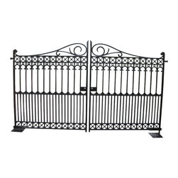 "Heritage Cast Iron USA - Richmond Cast Iron Driveway Gate - One, Bi Parting Traditional, Victorian, Solid Cast Iron Driveway Gate including hinges and handles and Center Stop. Weight is 1200 Pounds total. Overal Height is 7'3"" and each leaf is 5'10"" wide making this gate suitable for a 12' wide opening including space for hinges and a center gap. Professional installation is recommended. Operators can be added to automate these gates. Flat Black Finish can be left to weather or be top coated with water or oil based paints."